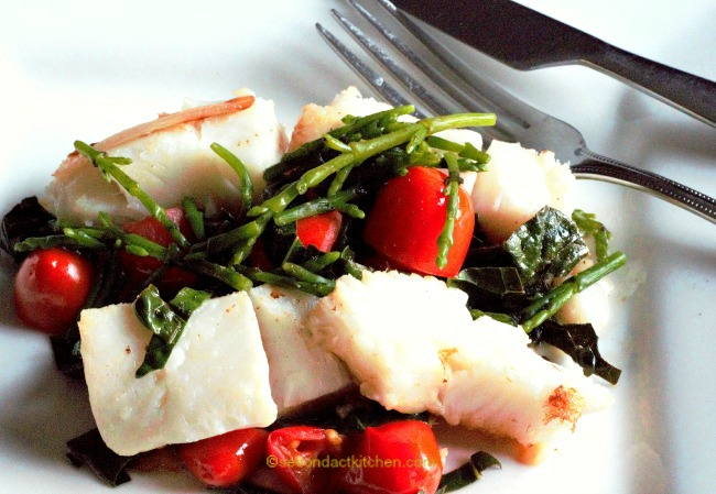 wm turbot with sea beans kale and tomatoes rev